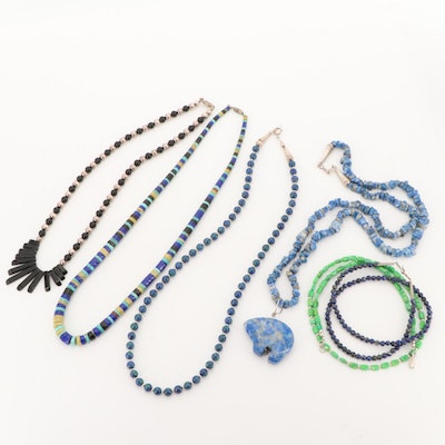 Sterling Silver Lapis Lazuli, Turquoise Malachite and Obsidian Necklaces