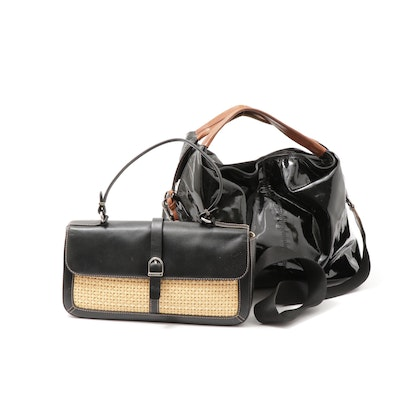 Furla Patent Leather Crossbody and Maxx New York Leather Woven Straw Handbag