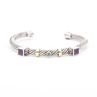 David Yurman Sterling Silver Amethyst and Blue Topaz Cuff with 14K Gold Accents