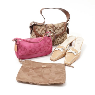 Coach Monogram Canvas and Leather Bags with Coach Marielle Leather Mules