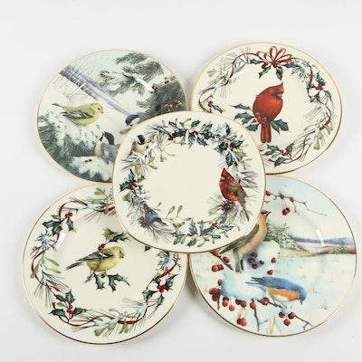 "Lenox ""Winter Greetings"" Porcelain Luncheon Plates, Late 20th Century"