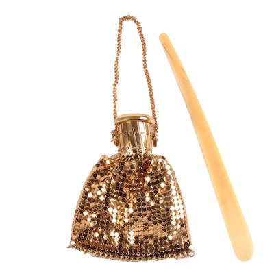 Gate Top Gold Tone Mesh Purse and Carved Resin Letter Opener, Vintage