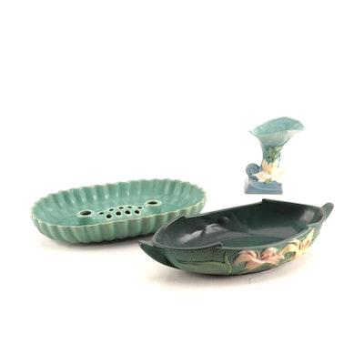 Brush and Roseville Centerpiece Bowls  and Cornucopia Vase