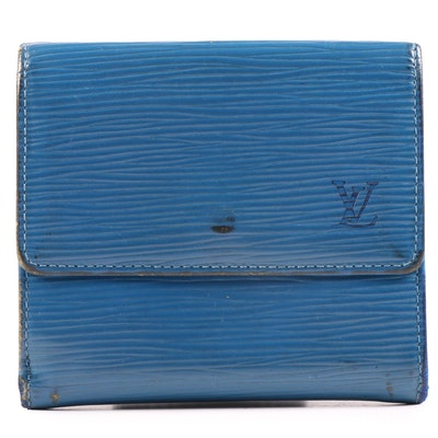 Louis Vuitton Toledo Blue Epi Leather Elise Wallet