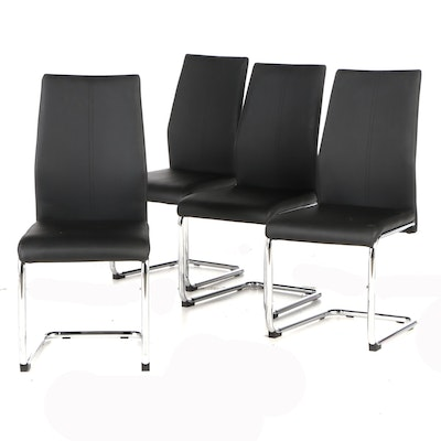 Modern Chrome and Black Faux Leather Dining Chairs, Contemporary