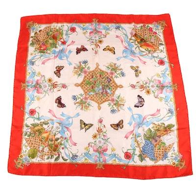 Gucci Fruit Basket Print Silk Scarf Designed by Vittorio Accornero, Vintage