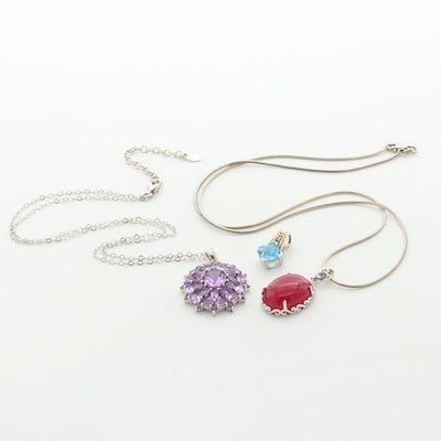 Sterling Silver Necklaces and Pendants with Quartz, Amethyst and Topaz