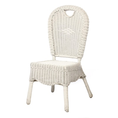 Painted Woven Wicker Patio Side Chair
