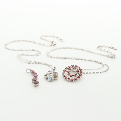 Sterling Silver Necklace and Pendants with Garnet, Topaz, Amethyst and More