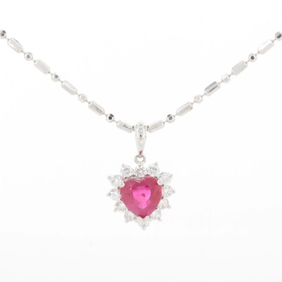 18K White Gold 1.23 CT Ruby and Diamond Halo Heart Pendant Necklace