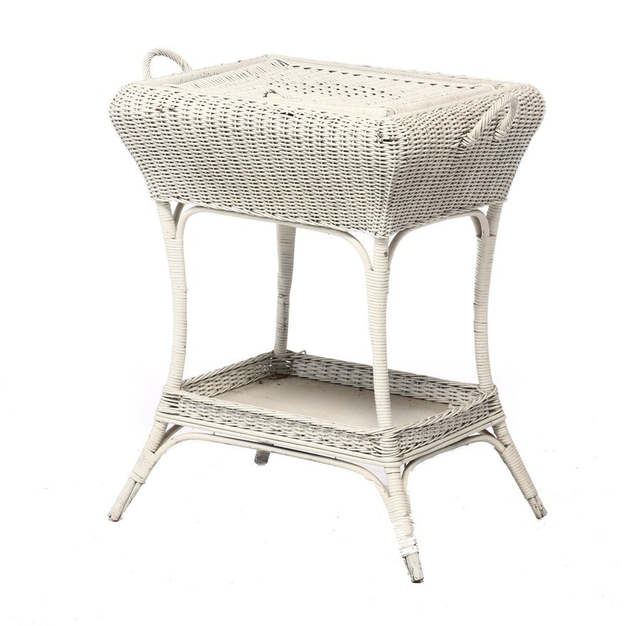 Painted Woven Wicker Storage Patio Table