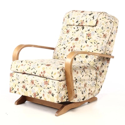 Birch Upholstered Platform Rocker, Circa 1950s