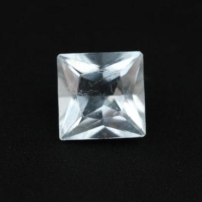 Loose 1.42 CT Square Faceted Aquamarine Gemstone