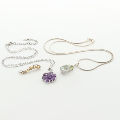 Sterling Silver Necklaces and Pendant with Amethyst, Citrine and Prasiolite