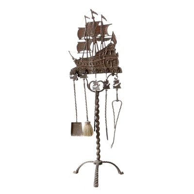 Spanish Colonial Style Cast Iron Fireplace Tool Set, Circa 1920s