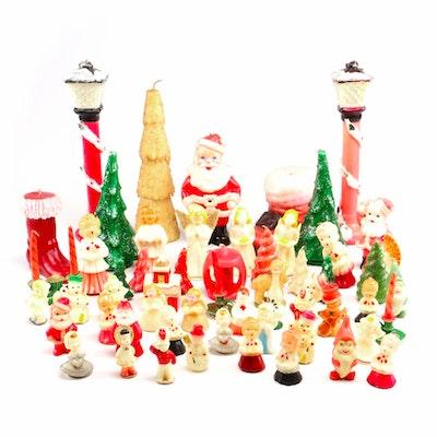 Christmas Figurine Candles, Mid-Century