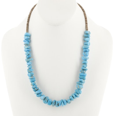 Sterling Silver Turquoise and Heishi Shell Beaded Necklace