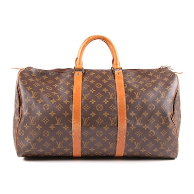 Louis Vuitton Keepall 50 Duffle Bag in Monogram Canvas and Leather, Vintage