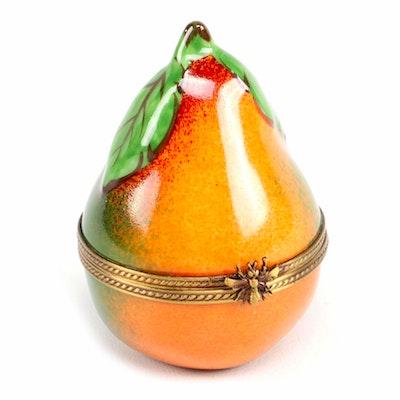 Limoges Porcelain Pear Trinket Box