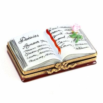 Limoges Porcelain Open Book Trinket Box