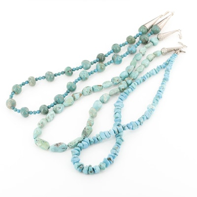 Sterling Silver Turquoise Graduated, Station and Beaded Necklace