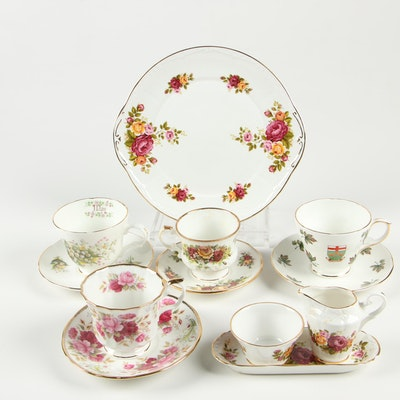 Crown Trent and Other Bone China Teacups, Saucers and Serveware
