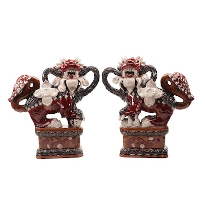 Pair of Chinese Lead Glazed Earthenware Guardian Lion Figures, Late Qing Dynasty