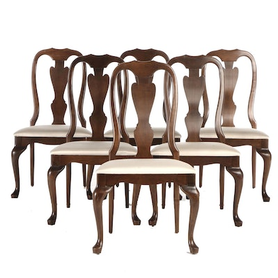 Queen Anne Style Crawford Furniture Walnut Finish Upholstered Dining Chairs