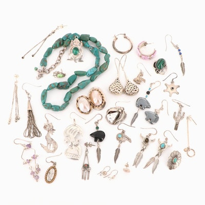 Sterling Scrap Featuring Turquoise, Malachite, Mother of Pearl and Signed Pieces