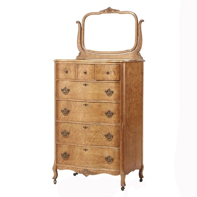 Colonial Revival R.J. Horner Birds-Eye Maple Dresser with Mirror, 1920s
