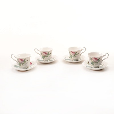 "Roy Kirkham ""Redoute Roses"" Bone China Teacups and Saucers"