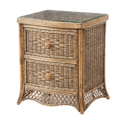 Woven Wicker Glass Top Nightstand, Contemporary