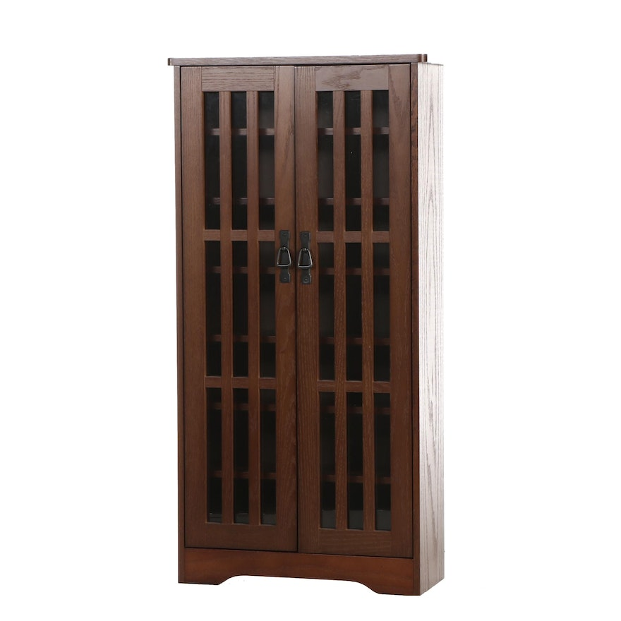 Mission Style Oak Glass Front Bookcase, Contemporary