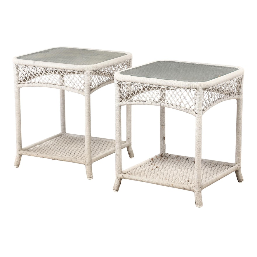 Woven Rope and Glass Top Night Stands, Contemporary