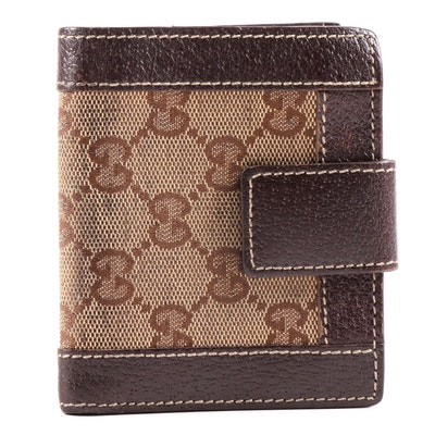 Gucci GG Supreme Canvas and Brown Leather Bifold Wallet