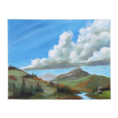 """Brian Johnpeer Landscape Acrylic Painting """"Growing Clouds"""""""