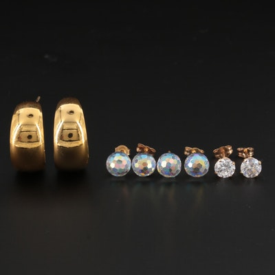 14K Yellow Gold Cubic Zirconia and Glass Stud Earrings with Hoop Earrings