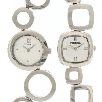 Pair of Fossil All Stainless Steel Quartz Wristwatches