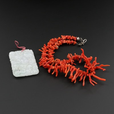 Vintage Jadeite Pendant With Branch Coral Necklace
