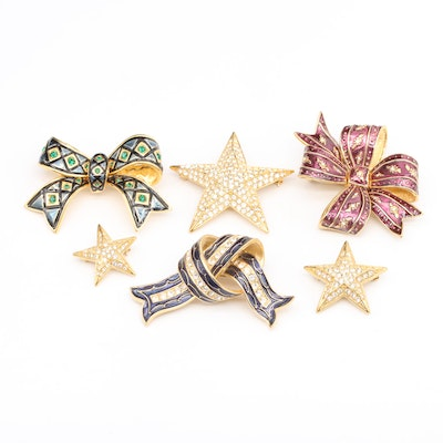 Joan Rivers Rhinestone and Enamel Bow and Star Shaped Brooches