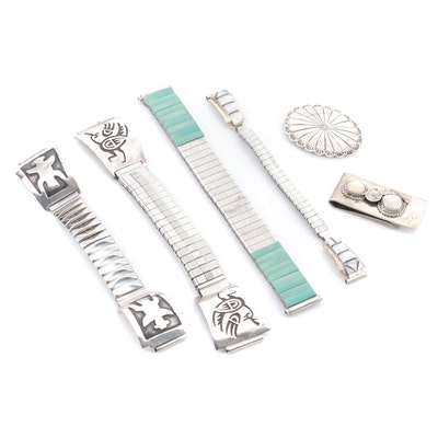 Sterling Silver Turquoise, Mother of Pearl and Opal Bracelets and Money Clip