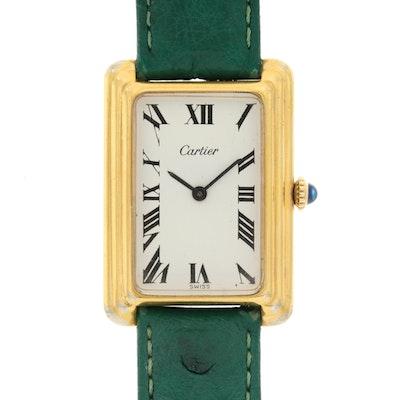 Vintage Cartier Gold Plate Tank Style Stem Wind Wristwatch