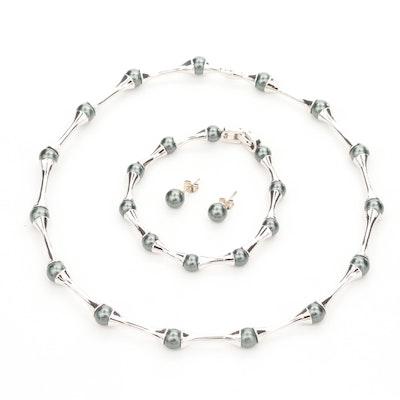 Mi Saki Imitation Pearl Necklace, Bracelet and Earrings Set