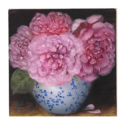 """Thuthuy Tran Oil Painting """"Roses in a Vase"""""""