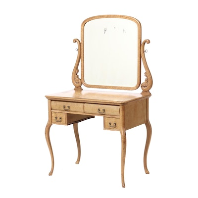 Colonial Revival Birds-Eye Maple Vanity with Mirror, Early 20th Century
