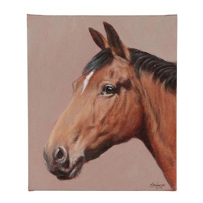 "John Silver Oil Painting ""Horse Portrait"""