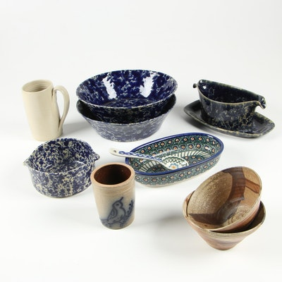 Bennington Potters Spongeware  and Other Earthenware Serving Pieces