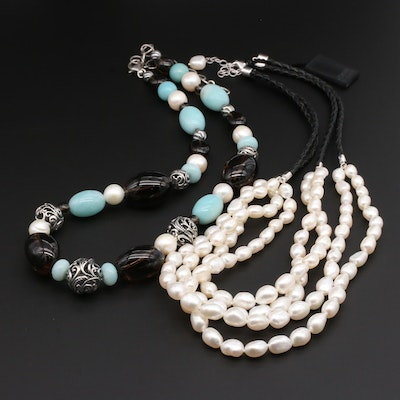 Sterling Silver Honora and Carolyn Pollack Necklaces Featuring Cultured Pearls