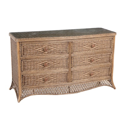 Woven Wicker Glass Top Chest of Drawers, Contemporary