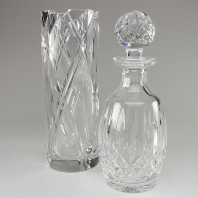 "Waterford ""Lismore"" Crystal Decanter and Orrefors Crystal Vase"